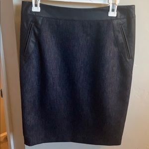 Ann Taylor Faux leather trim pencil skirt